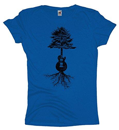Guitar Tree Roots Damen TShirt Gitarrist Girlie Shirt Gitarre Bassist Royal