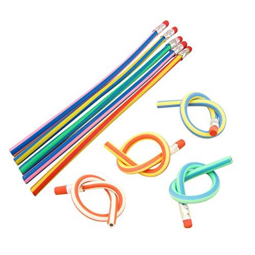 Magie Bendy Bleistift Bunte Flexible Weiche Streifen Bleistift mit Radiergummi Kinderschule Schreibwaren Spaß Schreibgeräte (Mischfarbe) ()