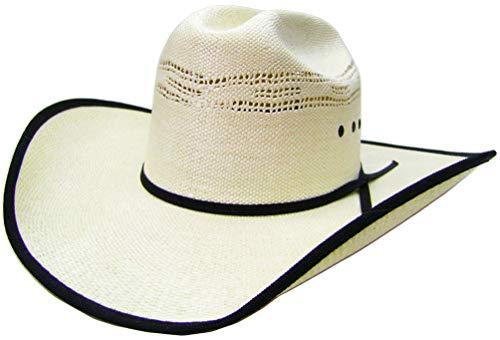 a53ee664b Modestone Breezer Straw Bangora Black Fabric Brim Edge Chapeaux Cowboy 55  White