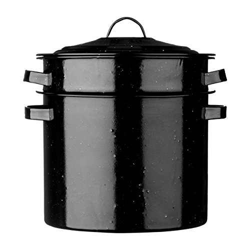 Premier Housewares Vintage Pasta Pot, Enamel, Black, 32 x 31 x 28 cm