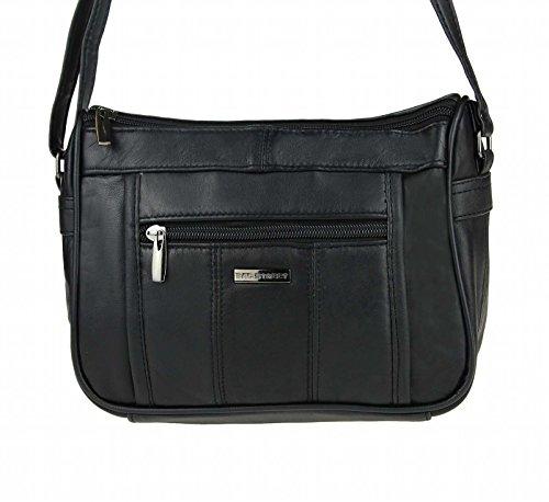 Kleine Lambskin Damen Leder Tasche Handtasche Überschlag Umhängetasche Schultertasche Clutch Damentasche Ledertaschen (Schwarz (23x18 cm))