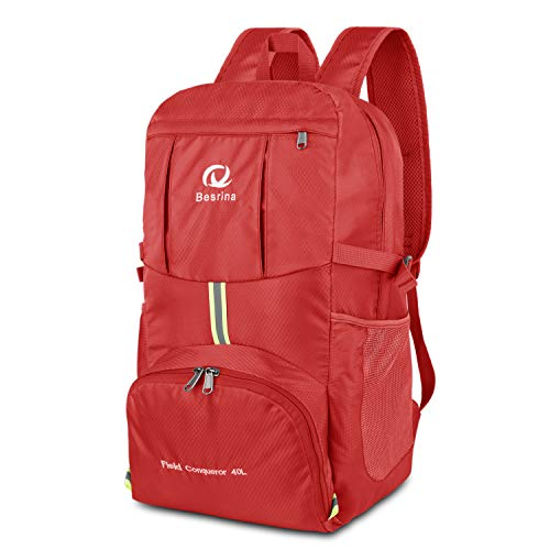 40L Ultraleicht Faltbare Rucksack, Wasserdichter Wanderrucksäcke Multipurpose Reiserucksack Daypack für Wandern Biken Trekking Klettern Bergsteiger Camping Schule Freizeit(rot)