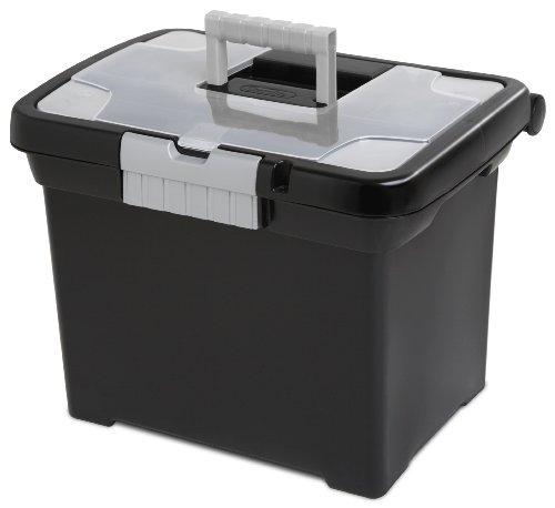 Tragbare Datei Box, schwarz mit transparentem Deckel Aufbewahrung und Titan Griff und Verriegelung, 4er Pack (Datei-boxen Mit Deckel)