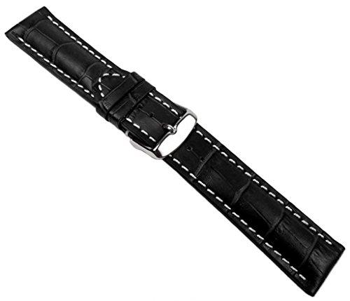 Herzog Swiss Chrono II Ersatzband Uhrenarmband Kalbsleder Band Schwarz 20651S, Stegbreite:18mm