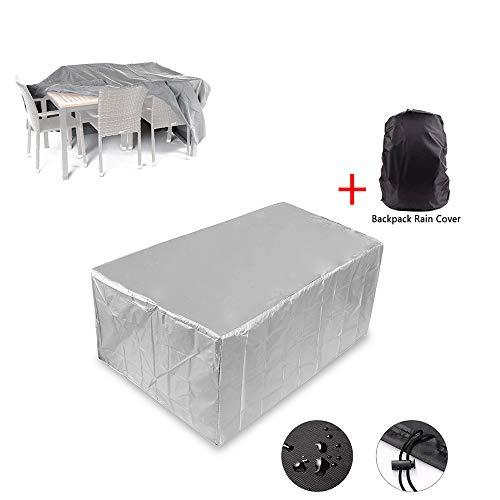 YOUDAN Funda para Muebles de Jardin, Patio Cuadrado Duradero Cubierta Tabla Resistente Poliéster Impermeable a los Rayos UV Cubiertas (Incluye Funda Lluvia para Mochila),308x138x89cm