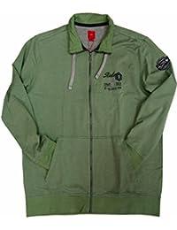 s.Oliver Herren Sweatshirt Jacke, grün, 15.512.43.3301, Übergröße bis 5XL