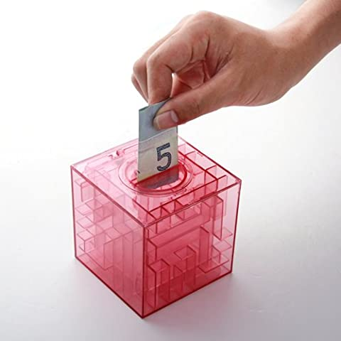 3D Caja Cubo Banco de Moneda Dinero Rompecabezas Money Maze Box Laberinto Regalo