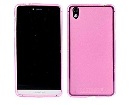 caseroxx Hülle/Tasche TPU-Hülle pink + Displayschutzfolie für Medion Life X5020 MD 99367 / MD 99462, Set bestehend aus TPU-Hülle und Displayschutzfolie