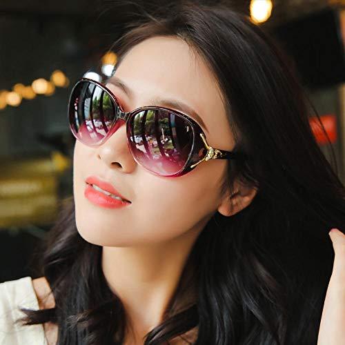 CYCY Sonnenbrille rundes Gesicht Damen Sonnenbrille weibliche Gezeiten Modelle UV-Schutzbrille großes Gesicht elegant 1wy Black Box Tuch, transparent lila (Tasche Tuch)