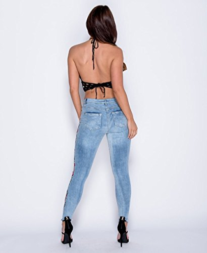 Damen Frayed Hem Floral bestickt Skinny Jeans EUR Größe 34-42 Strand