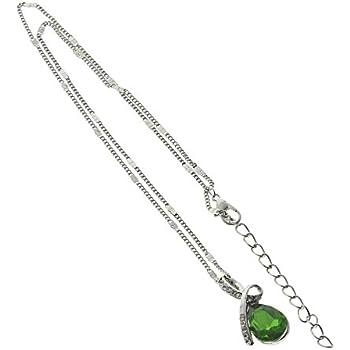 HuaYang Fashion larme d'ange cristal Goutte d'Eau bijoux collier des femmes Chaîne de clavicule(Vert)
