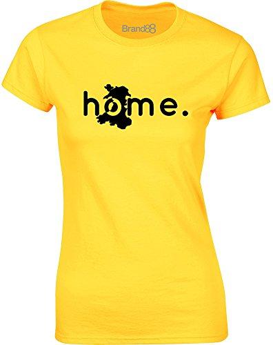 Brand88 - Home: Wales, Gedruckt Frauen T-Shirt Gänseblümchen-Gelb/Schwarz