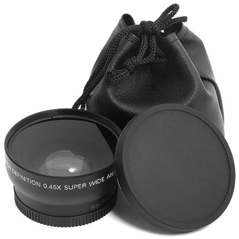 XCSOURCE Schwarz 52MM 52MM + pochette-housse Weitwinkel 0,45x Weitwinkel- und Makro-Objektiv für Nikon D4D3X D800D700D600D300S