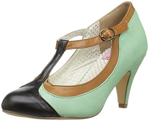 Pin Up Couture PEACH-03 Mint Multi Faux Leather
