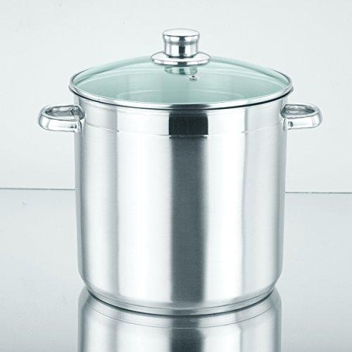 Edelstahl Liter Suppentopf 10 (10 Liter großer Induktions-Kochtopf mit Dampfabzugs-Glasdeckel / Großraumtopf aus Edelstahl (induktionsfähig))
