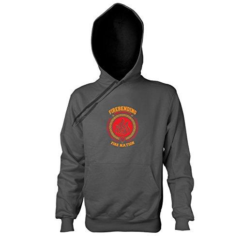 TEXLAB - Firebending University - Herren Kapuzenpullover, Größe S, anthrazit (Aang Avatar Die Last Airbender Kostüm)