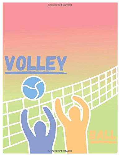 Notebook: Volleyball Composition Notebook/Journal for Adult/Children Team Sports Lovers to Writing Large (8.5x11 Inch. 21.59x27.94 cm.) Wide Ruled ... Blank Pages (BLUE&ORANGE&GREEN&RED Pattern)