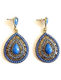 Réf1C19 BO.425 - Boucles D'oreilles Fantaisie Vintage - Pendants Gouttes Perles Bleu Electrique Strass - Métal Doré