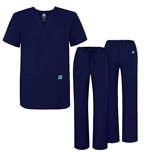 Adar Mens Medical Scrubs Set Medical Uniforms - Roomy Fit - 701 - Nvy -L