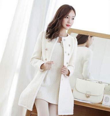 Hjhkjhiu cappotto da donna a doppio filamento cappotto caldo in pelliccia autunnale invernale giacca a vento lunga in fibra di poliestere bianco s