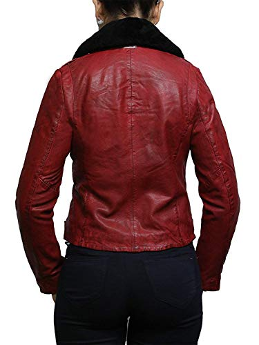 Brandslock Damen Echtes Leder Ausgestattet Biker Jacke (Small, Rot) - 4
