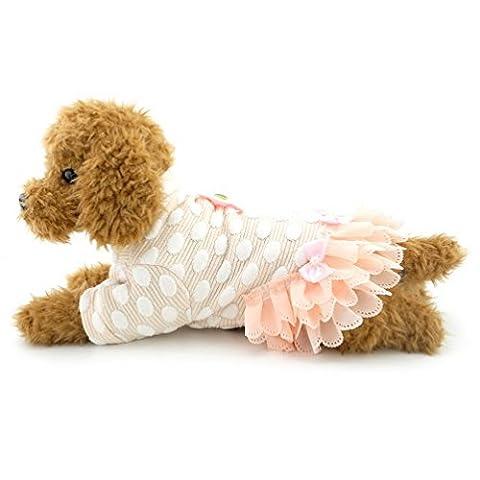 SELMAI Small Girl Dog Dresses Dots Tutu Skirt Puppy Dog