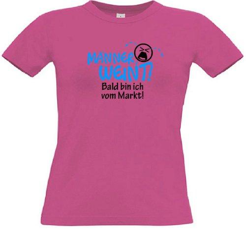 T-Shirt für den Junggesellinnenabschied mit dem Motiv Männer weint - Junggesellin Fuchsia