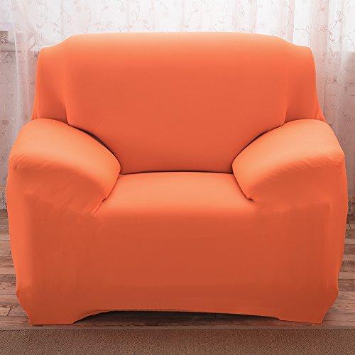 Hotniu Elastisch Schonbezugfür Sessel Solide Couch Abdeckungen Sofaschonbezug (1 Sitzer, Orange)