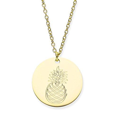 URBANHELDEN - Damen-Kette mit rundem Motiv Anhänger - Hals Kette Amulett - Edelstahl - Gravur Ananas Gold