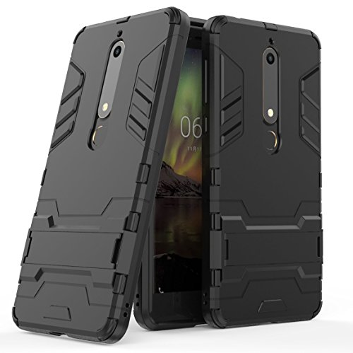 Nokia 6.1 / Nokia 6 2018 Custodia Cover Case, FoneExpert® Resistente alle Cadute Armatura dell'impatto Robusta Slim Custodia Kickstand Shockproof Protective Case Cover per Nokia 6.1 / Nokia 6 2018
