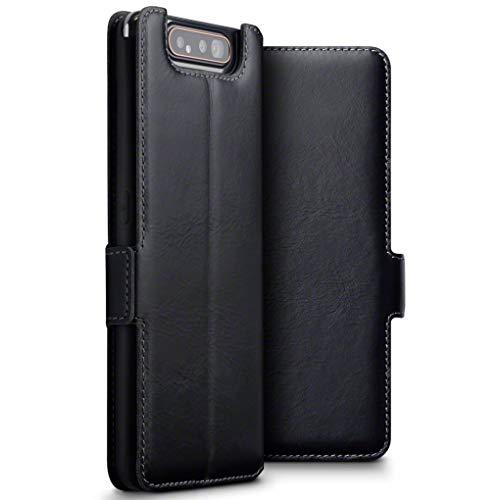 TERRAPIN, Kompatibel mit Samsung Galaxy A80 Hülle, Premium ECHT Spaltleder Flip Handyhülle Samsung Galaxy A80 Hülle Tasche Schutzhülle, Schwarz