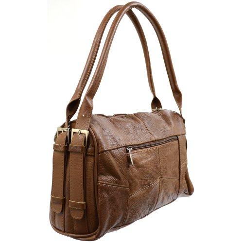 Damenhandtasche aus Leder mit attraktiven seitlichen Schnallen ( Schwarz , Dunkelbraun , Beige , Hellbraun ) Hellbraun