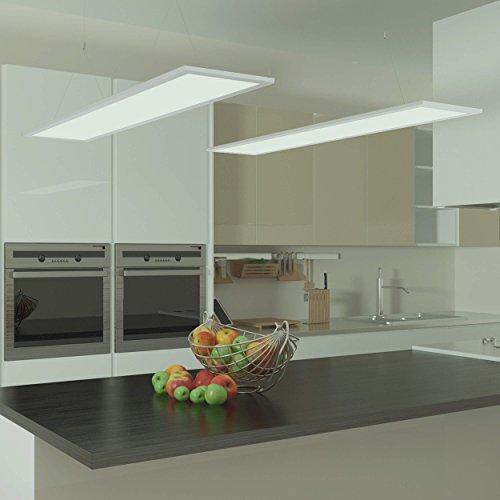 LUMIRA 50W Ultra-Slim LED Panel, 120x30 cm, Decken-Lampe Panelleuchte Decken-Leuchte, 50 Watt Leistung, Ersatz für 400W Leuchtstoffröhren, 4600 Lumen, 1200x300 mm, inkl. Trafo, Blendfrei UGR <19, Weiß, Seilsystem, Drahtseil-Montage, Seil-Abhängung, 6000 Kelvin, Kaltweiß