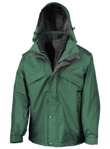 Result Mens 3in1 Zip and Clip Fleece Lined Waterproof Jacket Vert bouteille