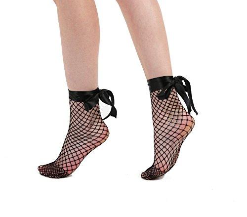 Schompi Netz-Socken - Fishnet Ankle Socks mit Schleife, Größe:Einheitsgröße