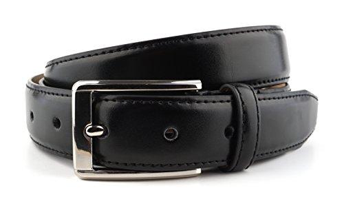 Massi Morino ® Premium Herren Anzug Gürtel aus Rindsleder schwarz schwarzer black schwarzfarbener Ledergürtel Premiumgürtel Businessgürtel Herrengürtel Rindsledergürtel