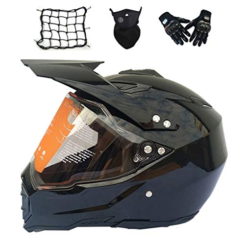 MRDEAR Casco Motocross Nero con Visiera, Set da Casco Cross Adulto - 4 PCS - Casco Enduro Integrale Moto MTB off-Road ATV Scooter Downhill Sport per Donna Uomo,M