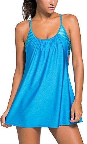 SunIfSnow donna Sexy Tankini Top Flowing Swim vestito a strati ritaglio Bikini Blue XXX-Large