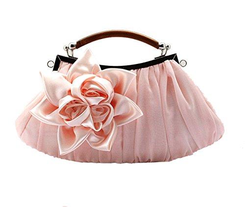 Heyjewels Damen Clutch Abendtasche Handtasche Brauttasche Hochzeit mit Blumen 29x15x5cm (B x H x T) (Rosa) (Hochzeit Kleider Champagner)