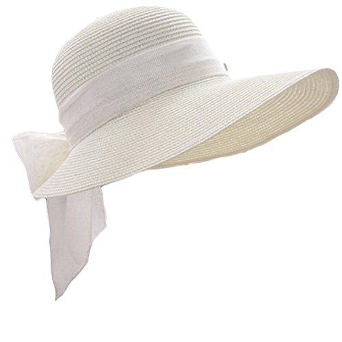 Leisial Damen Sonnenhut Fischerhut Flexible Sommer Hüte Strandhut mit Große Bowtie,Weiß