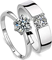 Simulated Diamond Elegant Couple Rings - Wedding/Valentine's Gift Open Rings