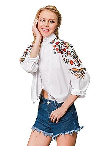 Simplee Apparel long manche - femmes fleurs de coton brodé bouton de chemise col haut blanc.