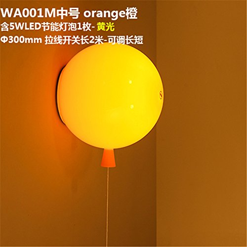 YU-K Einfache Vintage Wohnzimmer Esszimmer Farbe Ballon Wandleuchte Acryl Bett Scheinwerfer Kinderzimmer Wandleuchte, φ 30 CM, Seil ziehen, Schalter, Orange, warmes Licht -