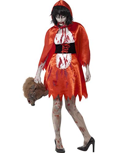 costumebakery - Damen Frauen Kostüm Zombie Blutiges Rotkäppchen Märchenfigur Kleid und Umhang, Horror Little Red Riding Hood, perfekt für Halloween Karneval und Fasching, L, Rot (Hood Red Little Riding Kleider)