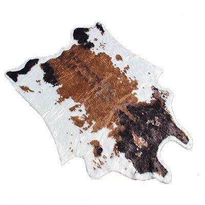 JSBVM Teppiche Imitat-Zebradruck Teppich Braune Tiermatte Kunstleder-natürliche Form Rindsleder Matte 200X150CM Für Zuhause,200x150cmCow - Natürlichen Läufer Teppich