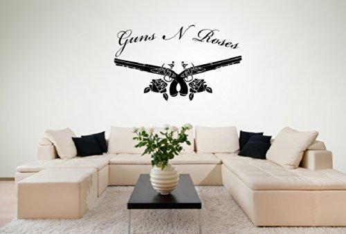 Guns N Roses Logo-Musik-Vinyl Wand Kunst Aufkleber-3Größen und 16Farben, 4 - X Large 100 x 60 cm (Aufkleber Gun Tattoo)