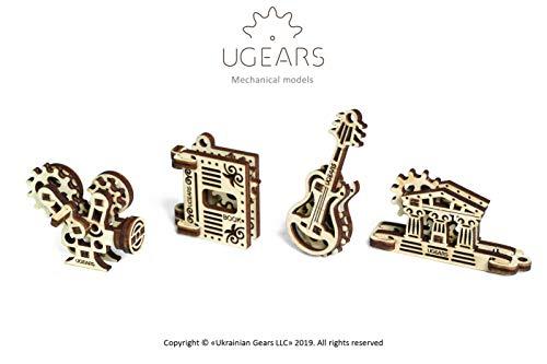 UGEARS 70041 U-Fidgets Creation Puzzleteile-Set mit 4 Modellen-Anti-Stress-3D-Puzzle-Selbstbausatz-4 Mini Miniaturmodell-Mechanische Modelle-Sperrholzbaukasten