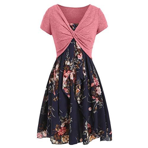 POPLY Frauen Kleiden 2pcs Klage - Damen Elegant Beiläufiges Cami Blumen Kleid mit Ernte T-Shirt/Women Floral Dress Set(Marine,M)