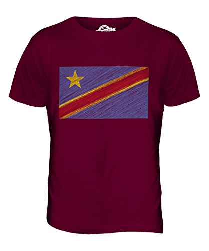 CandyMix Demokratische Republik Kongo Kritzelte Flagge Herren T Shirt Burgunderrot