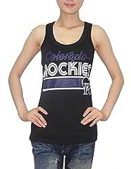 MLB Mujer Colorado Rockies deportivo de cuello redondo Camiseta de (Vintage), MLB, mujer, color Negro - negro, tamaño XL